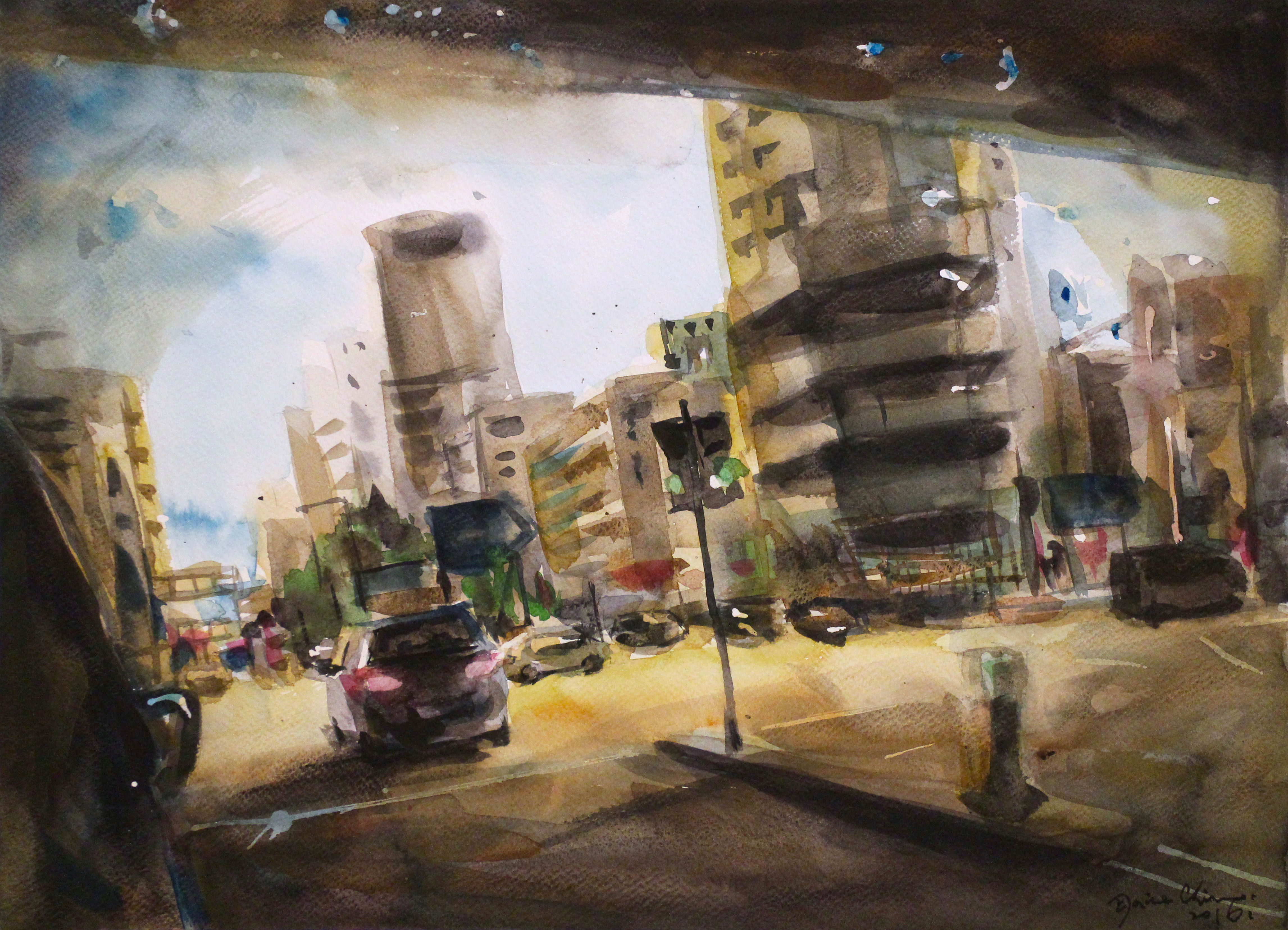 tgt-gallery_elaine-chiu_on-my-way_2016_watercolor-on-paper_36x48cm_hkd7500